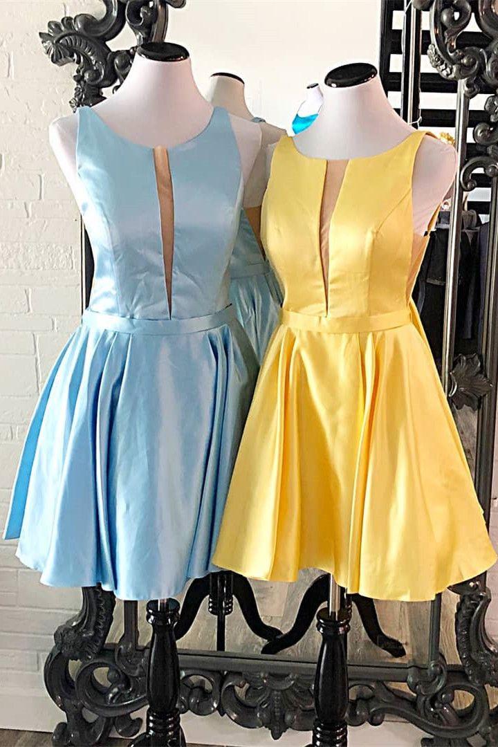 Cute aline short yellow dress