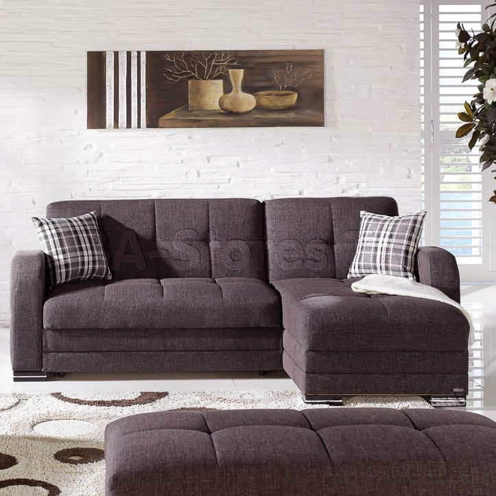 Kubo Sectional Sofa In Andre Dark Brown By Istikbal Brown Sectional Sofa Small Sectional Sofa Sectional Sofa