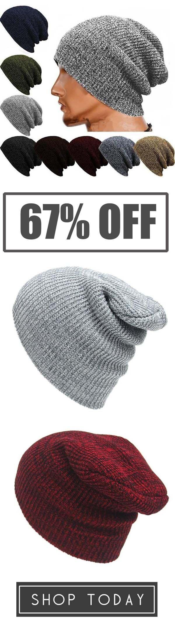 dbda20b890e53a Winter Casual Cotton Knit Cap Baggy Beanie Crochet Cap Outdoor Ski Cap