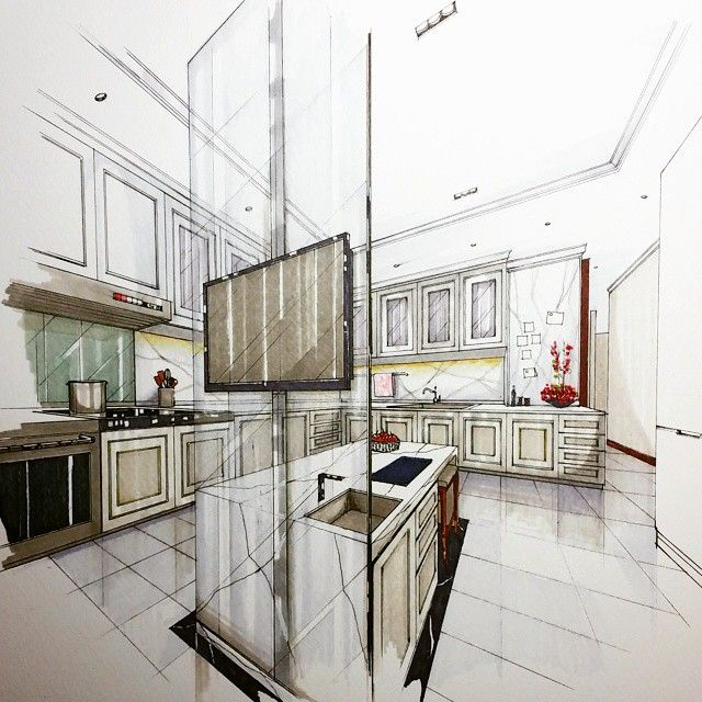 Interior Design Sketches Kitchen handdraw #render #perspective #kitchen #interior #design
