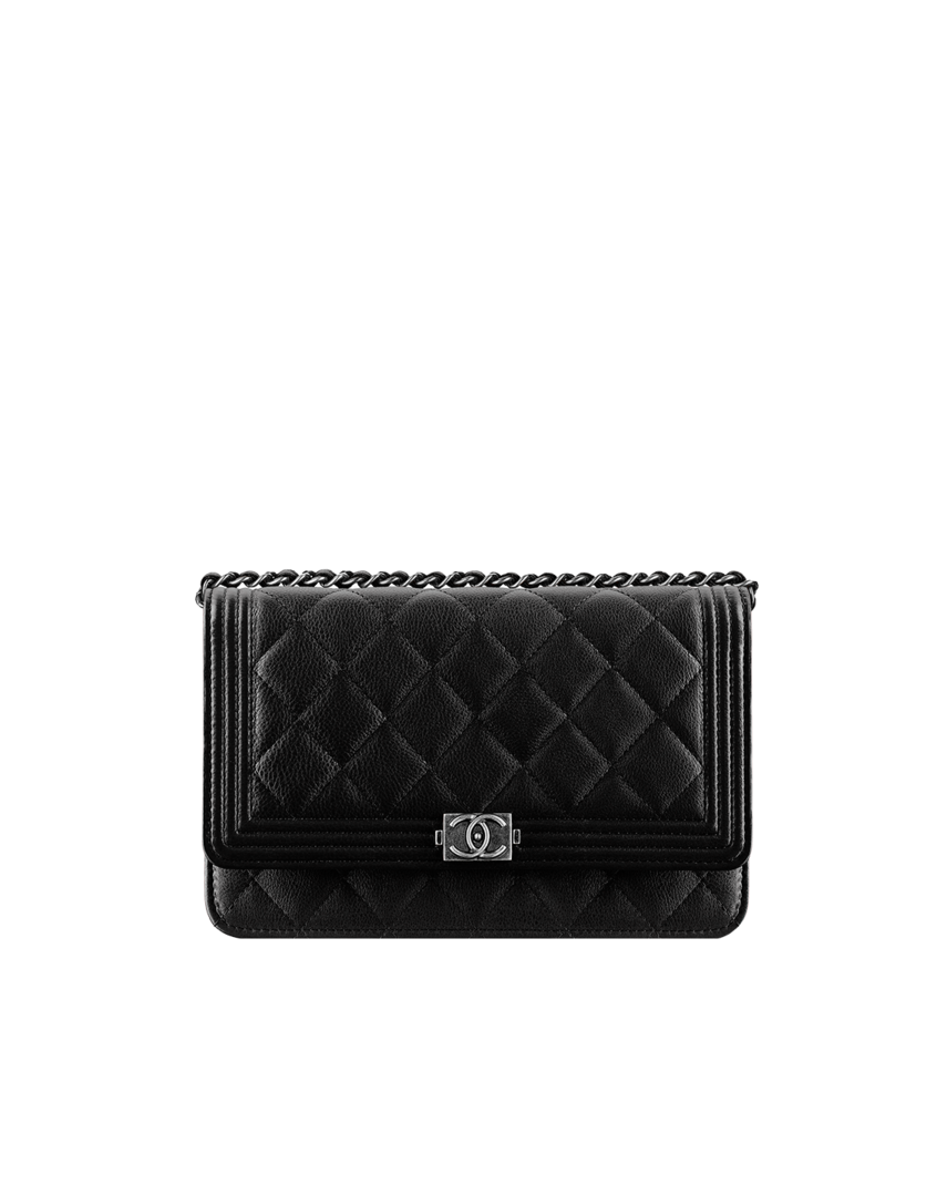 bd3d0ecdda59 CHANEL $2,100 BOY CHANEL clutch with chain, grained calfskin & ruthenium  metal-black - CHANEL $2,100