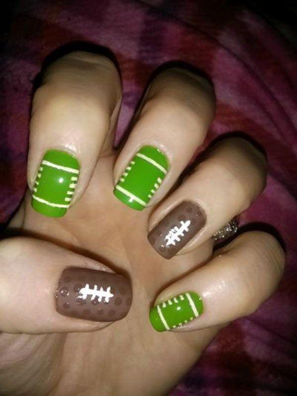 25 Cool Football Nail Art Designs - 25 Cool Football Nail Art Designs Football Nail Art, Football