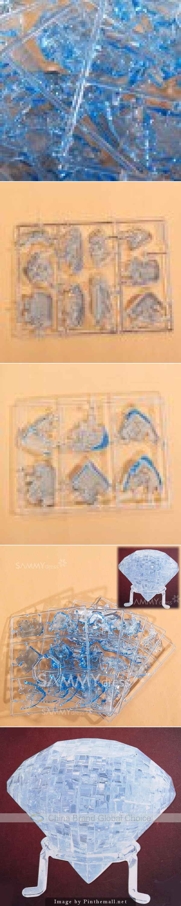 41PCS Pretty 3D Diamond Shaped DIY Crystal Decoration Puzzle IQ Toy - Blue