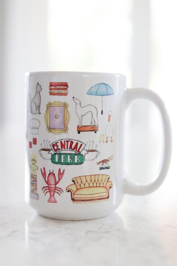 Friends inspired coffee mug // cute, photoshoot, blogger, gift, watercolor art mug, Friends fan gift mug
