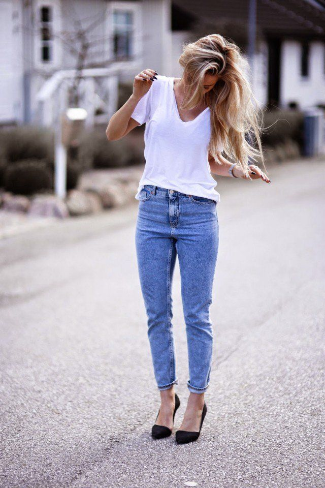 White T,Shirt with Jeans