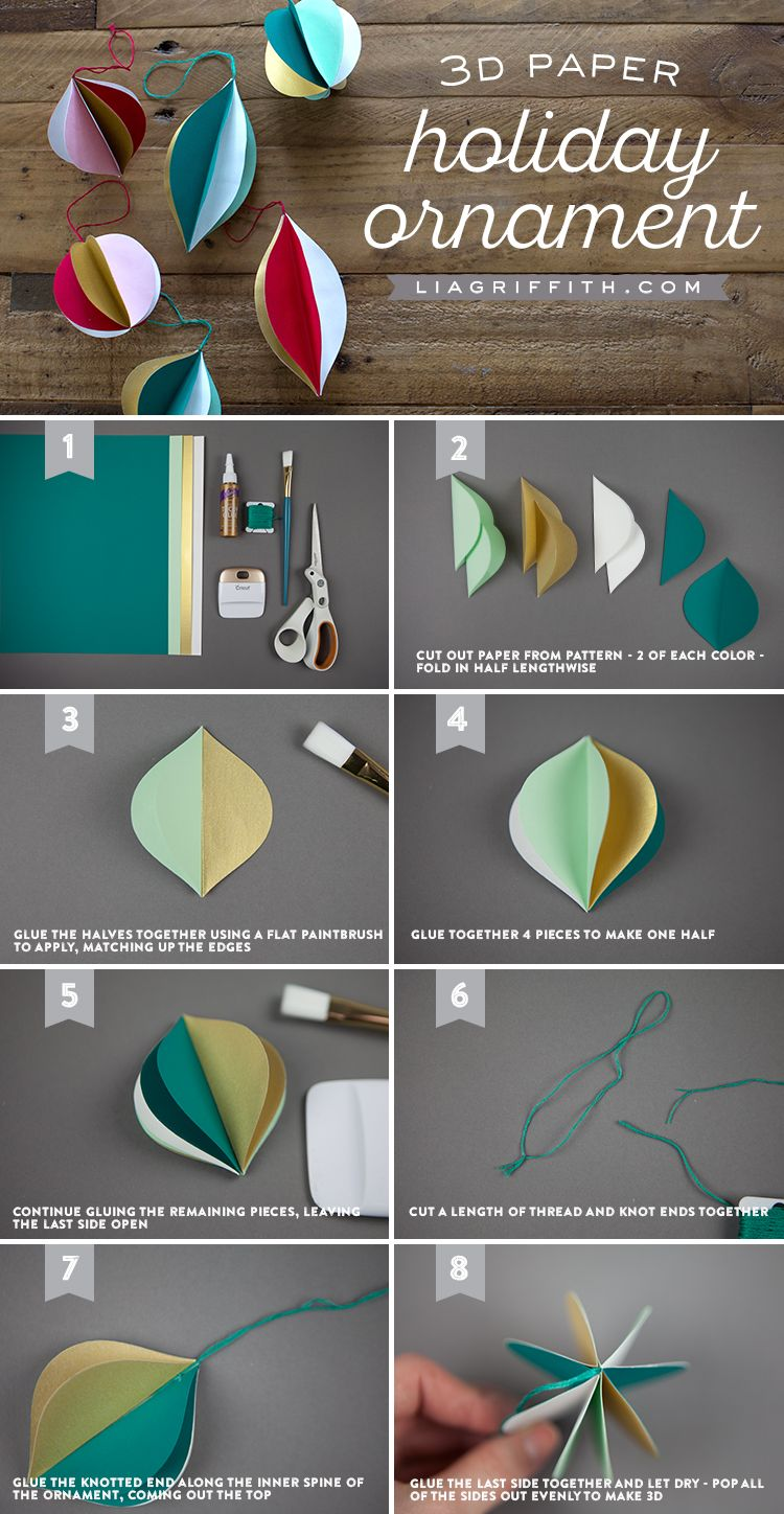 How To Make Retro Style 3d Papercut Ornaments Lia Griffith Paper Christmas Decorations Paper Christmas Ornaments Christmas Paper Crafts