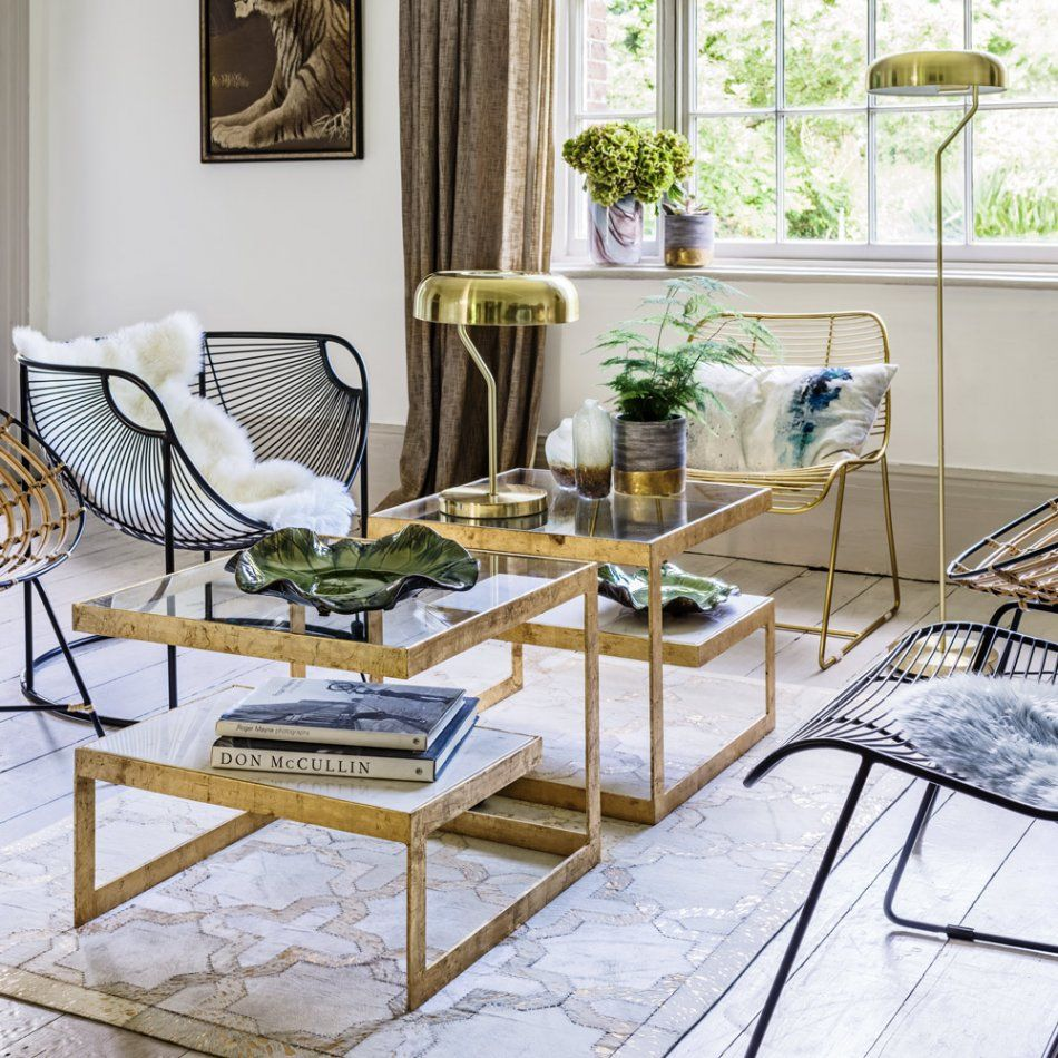 Estere Gold Marble Coffee Table Living room Pinterest