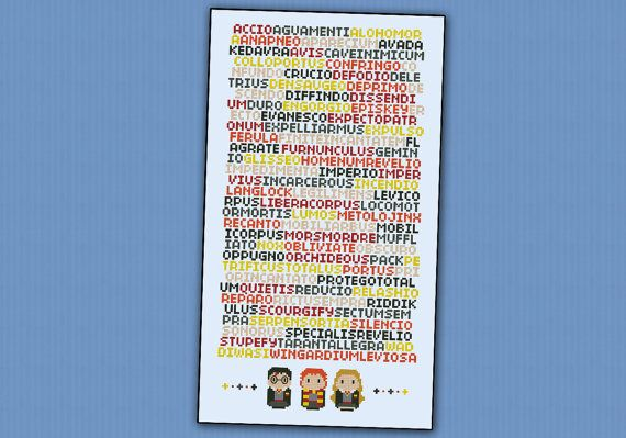 Harry Potter magical spells parody  PDF cross by cloudsfactory, $8.00