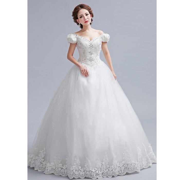 92467f2725e0 Princess Style Bateau Neck Puff Sleeve Rhinestoned Jacquard Embellished  Bridal Lace Floor-Length Wedding Dress (WHITE,14)   Sammydress.com