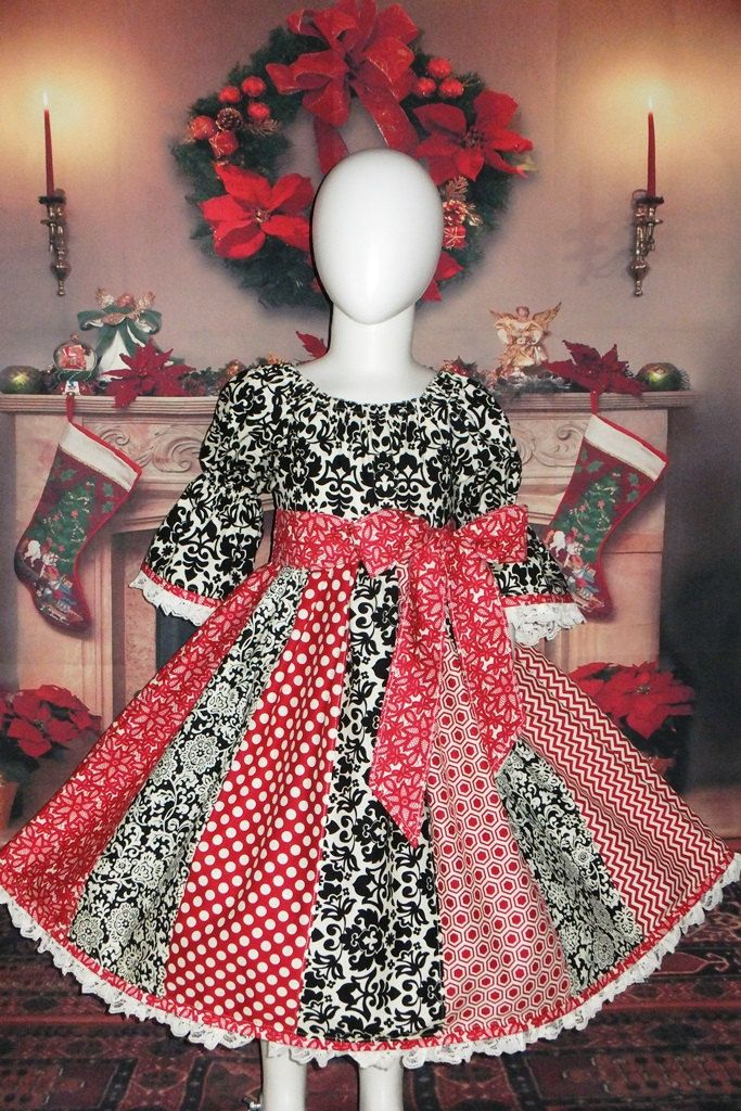 e7c5a367b Cotton Boutique Peasant Dress Christmas Holiday Red Black Infant Baby 6 12  18 24 month Toddler Girl 2T 3T 4T 5T Handmade Sleeve Twirl Skirt by ...