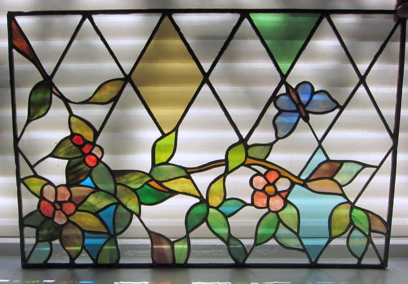 Vintage+Circa+1950s+Stained+Glass+Garden+Motif+Window+Panel-+Excellent+Condition+
