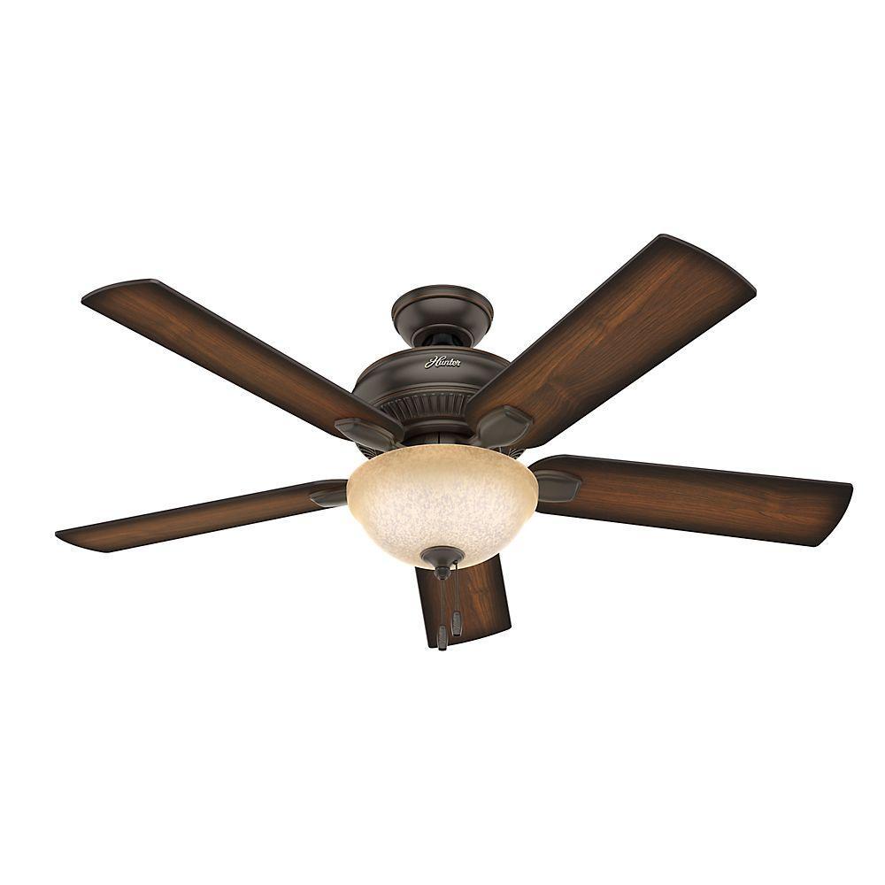 Hunter Matheston 52 in. Indoor Onyx Bengal Bronze Ceiling Fan with ...