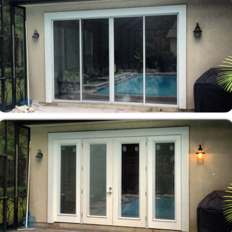 We Replaced This 12 X 8 Sliding Glass Door Unit With Energy Efficient Fiberglass French Doors W Fiberglass French Doors Custom Sliding Doors Living Room Door