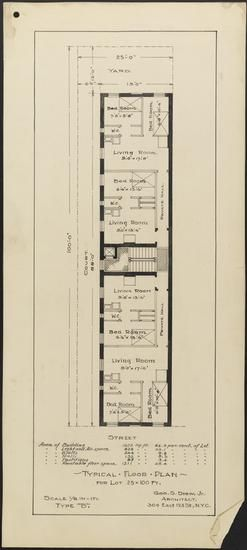 Typical Floor Plan For Lot 25 X 100 Ft Type B Tenement Housing Plan Tenement Architecture Presentation How To Plan