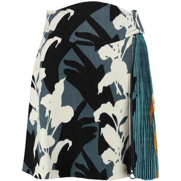 Carven Printed wool-blend crepe mini skirt (5.078.580 IDR) ❤ liked on Polyvore featuring skirts, mini skirts, storm blue, wool blend skirt, short black mini skirt, colorful skirts, blue skirt and short skirts