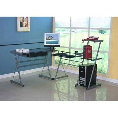 show details for glass l desk with bookcase home improvement rh pinterest com