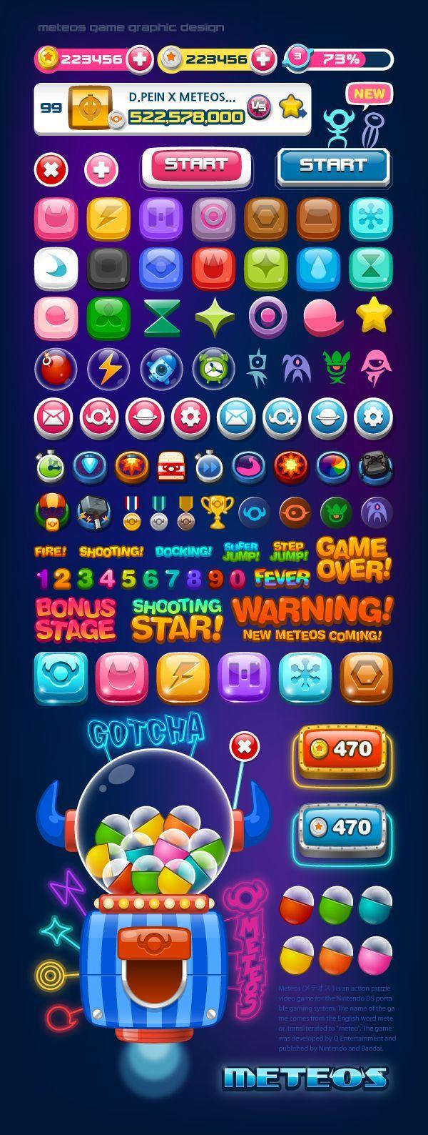 METEOS by D.PEIN, via Behance Game icon design, Game ui