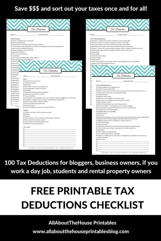 tax deductions checklist printable how to organize taxed what can I