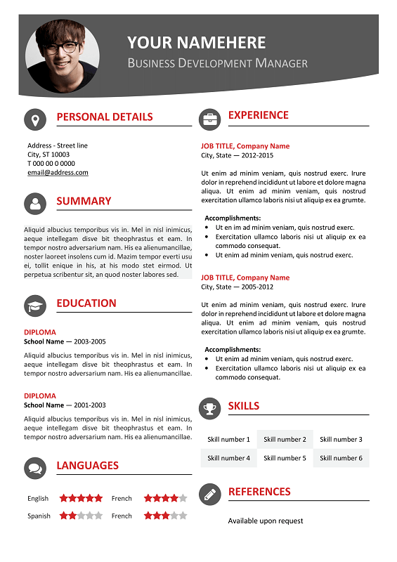 Hongdae Free Modern Resume Template Red  Classic Resume Templates