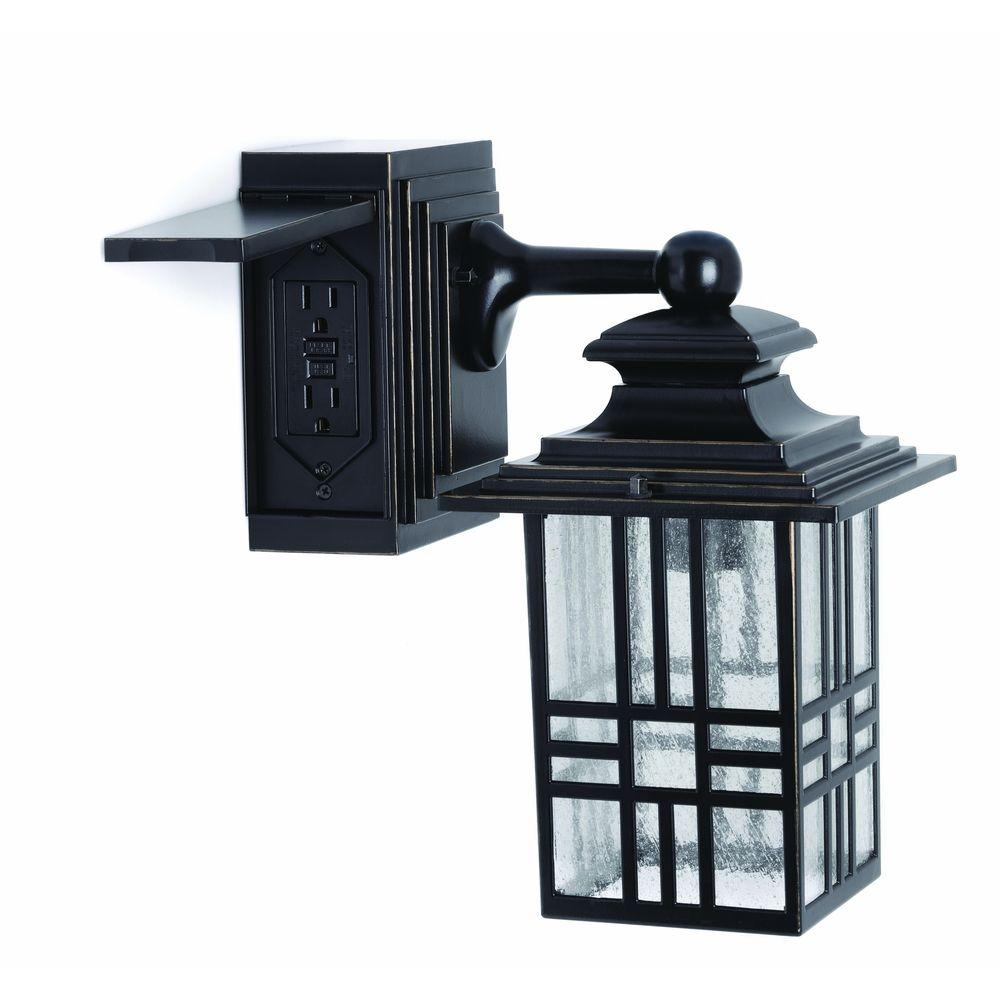 Hampton Bay Mission Style Black With Bronze Highlight Outdoor Wall Lantern With Built In Electrical Outlet Gfci 30264 The Home Depot Wall Lantern Outdoor Light Fixtures Outdoor Wall Lantern