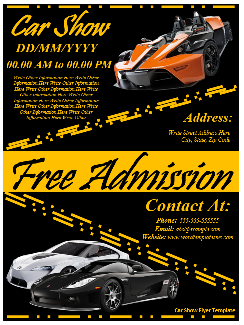 Car Show Flyer Template Template Pinterest Flyer Template And - Car show flyer template word