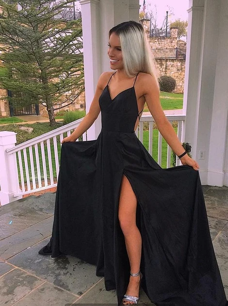 Black Long Prom Dresses with Lace up Back Fashion School Dance Dress Winter Formal Dress PDP0448