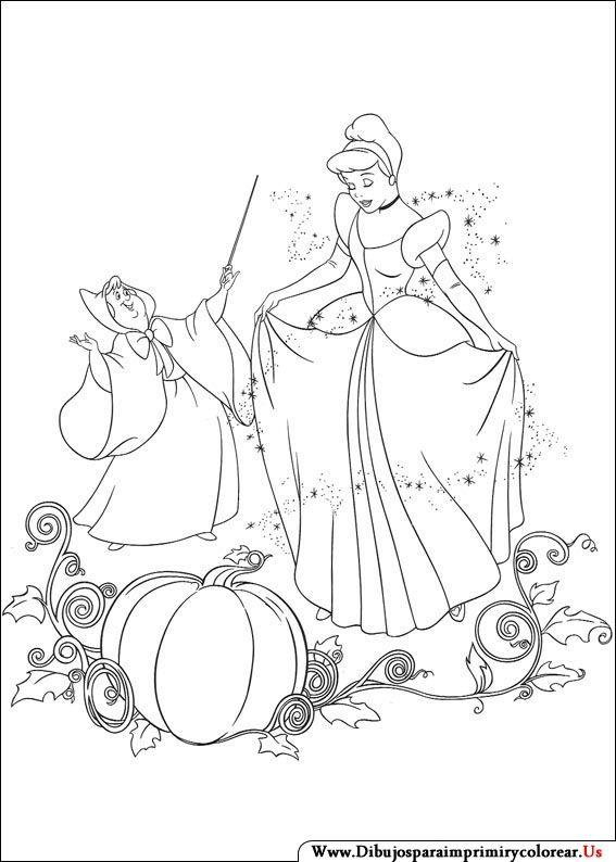 Dibujos de La Cenicienta para Imprimir y Colorear | draw | Pinterest ...