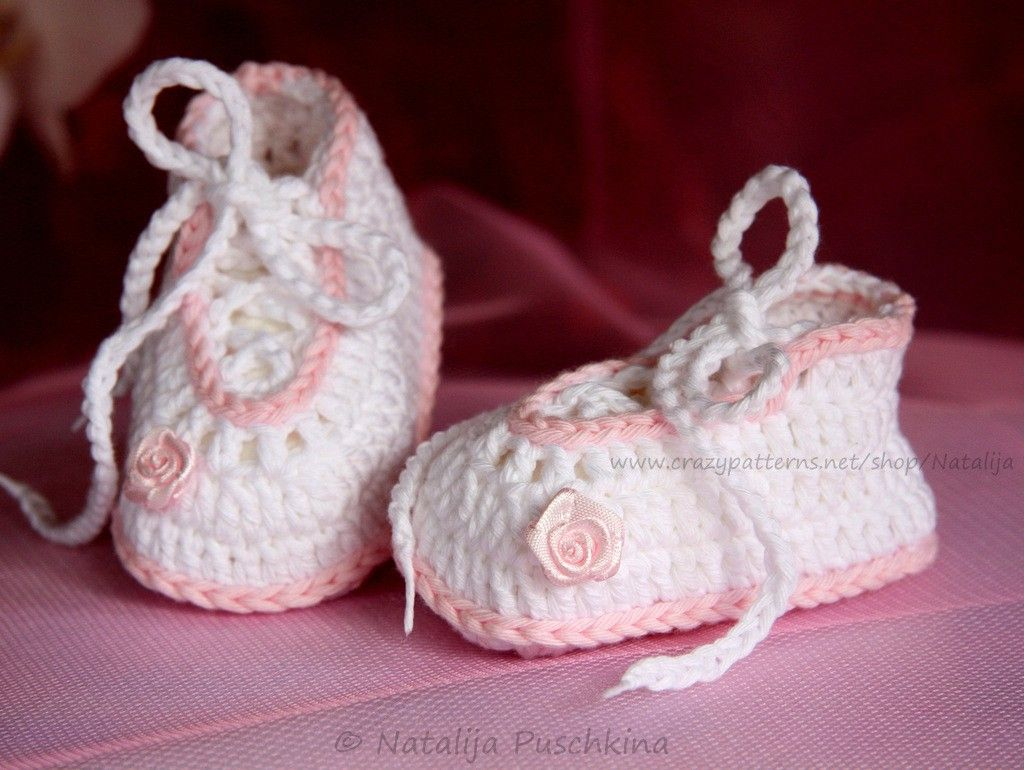 Babyschuhe Romantik - kostenlose Häkelanleitung | Babyschuhe häkeln ...