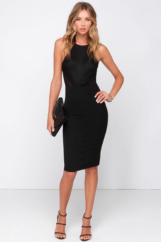 Love Mesh Age Black Lace Midi Dress Trendyness Dresses Black