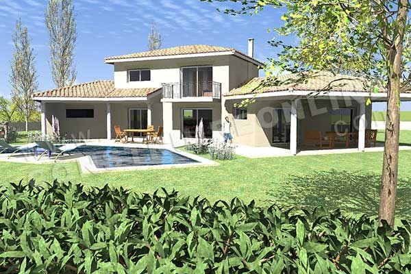 Plan de maison etage traditionnelle MAURESQUE vue dessus Maison - plan maison terrain pente