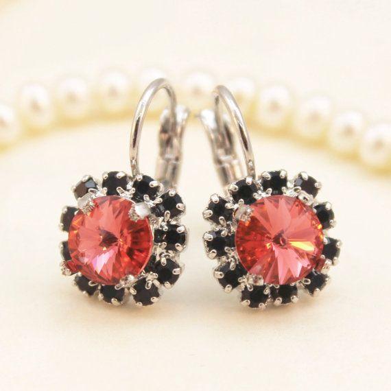 6700f6b97ab8 Black Coral Earrings Crystal Peach Drop earrings Leverback earrings ...