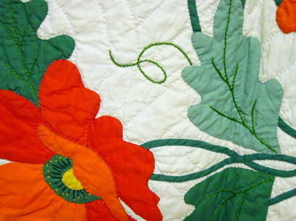 close up of workmanship - look at the applique and fine stems and ... : applique quilt patterns flowers - Adamdwight.com