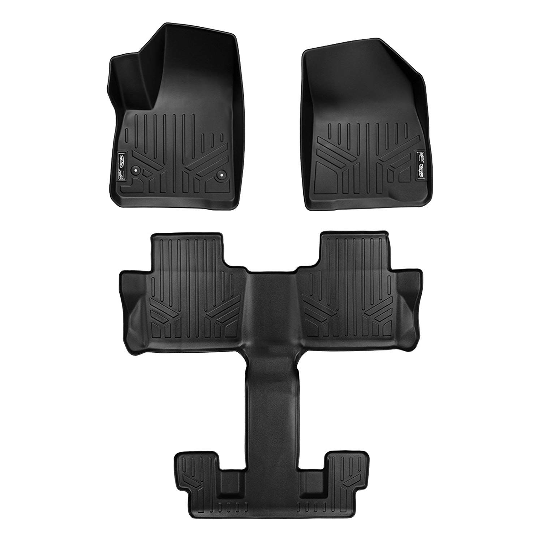Smartliner Floor Mats 3 Row Liner Set Black For 2017 2018 Gmc Acadia With 2nd Row Bucket Seats Details Can Be F Floor Mats Black Floor Cool Car Accessories