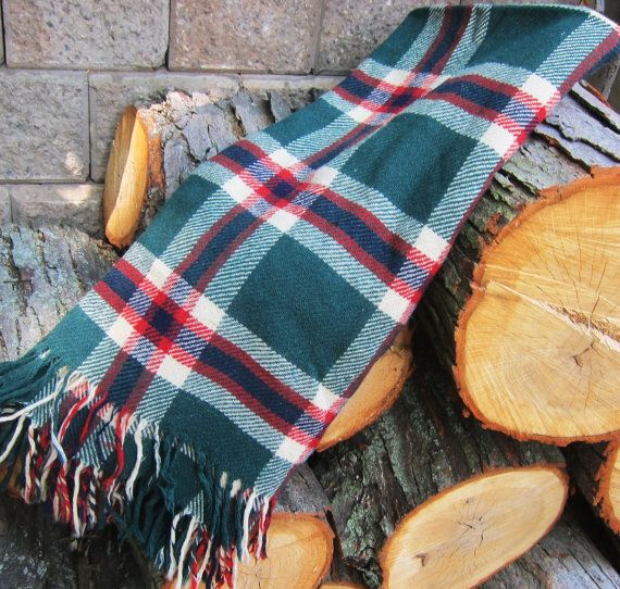Plaid Wool Blanket Car Rug Picnic 1940s 50s By