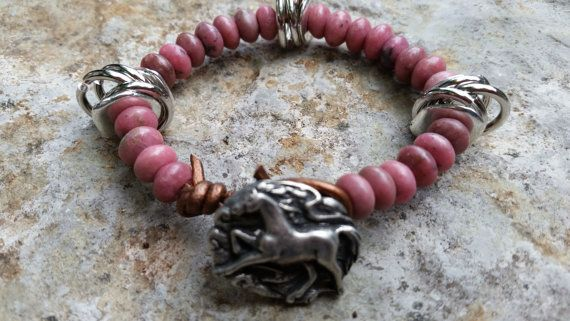 Gemstone Beaded Bracelet Rhodocrosite Rose Pink by GemsJewelsGirls