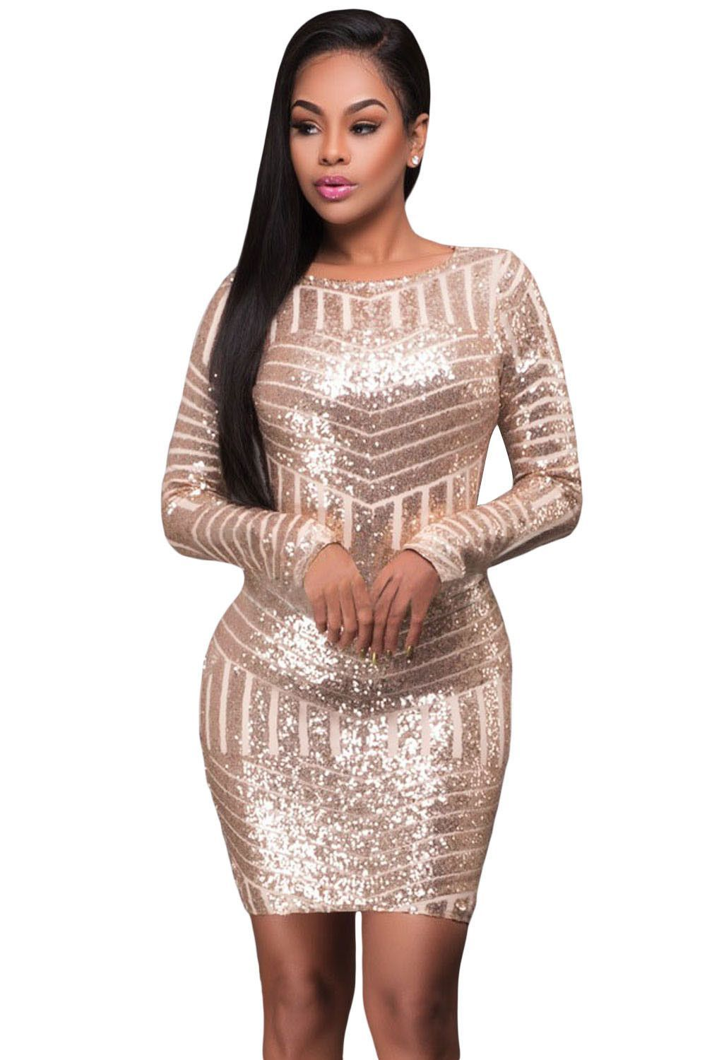 Champagne long sleeves cut out bare back sequin dress sequins and