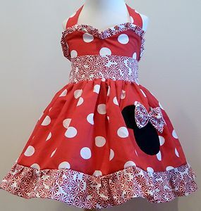 "Mouse over image to zoom                                                                                                                                                       Have one to sell? Sell it yourself         Holiday Minnie Mouse Red and Twirly Red And White Candy ""Sweetheart"" Halter Dres"