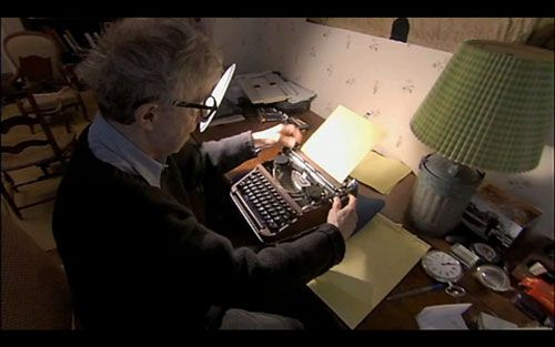 "Woody Allen and the first typewriter he ever bought. ""Woody Allen bought his Olympia portable SM-3 typewriter when he was 16, and he's used it to type every single thing he's written since then. ""It cost me 40 dollars. The guy told me it would be around long after my death."" When he needs to cut and paste, he cuts and staples."""