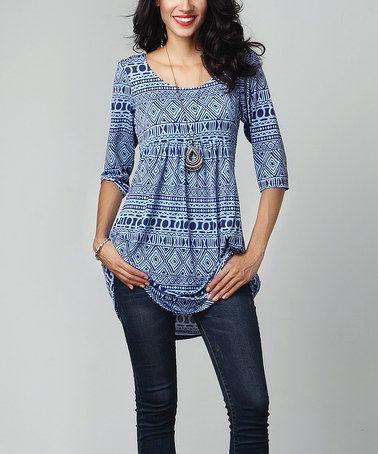 55405da656f Look what I found on  zulily! Blue Geo Empire-Waist Tunic Dress  zulilyfinds