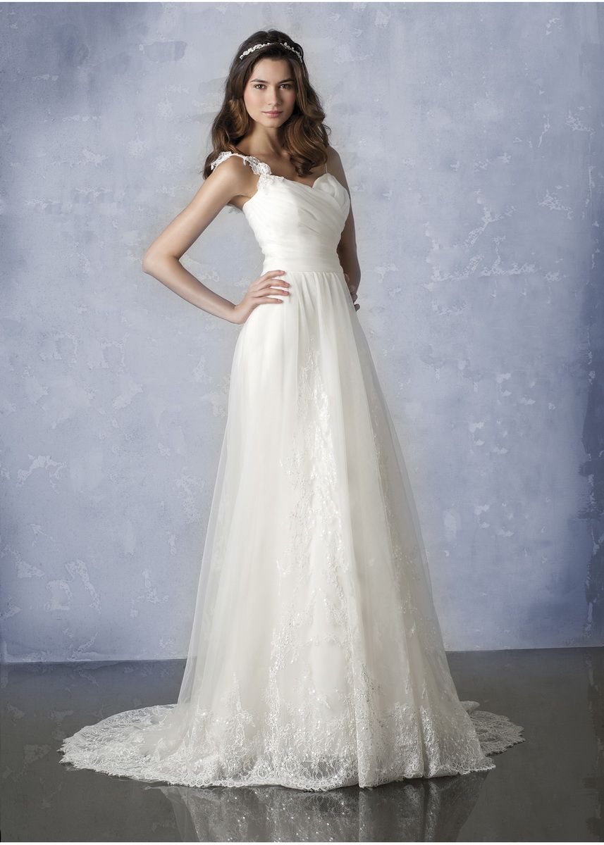 Perfect wedding dress with straps Spaghetti Straps a Line White Bridal Gown Wedding Dress