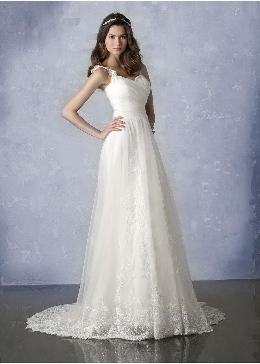 wedding dress with straps | Spaghetti Straps a-Line White Bridal ...