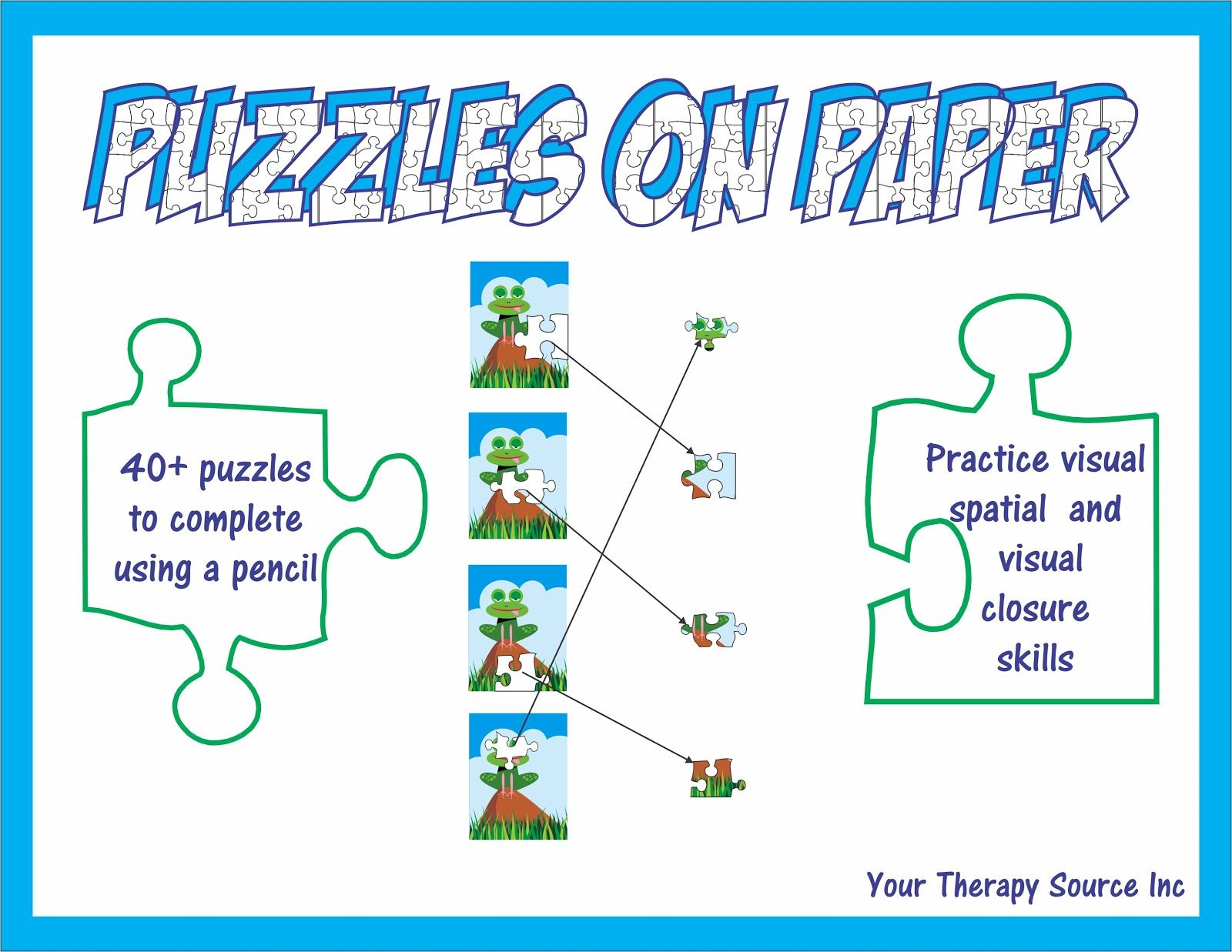 Your Therapy Source Visual Spatial And Visual Closure Puzzles Pinned By Sos Inc Resources