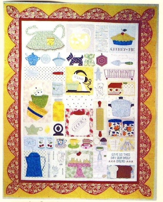 Grandma's Kitchen Applique Quilt Pattern by Pipersgirls on Etsy