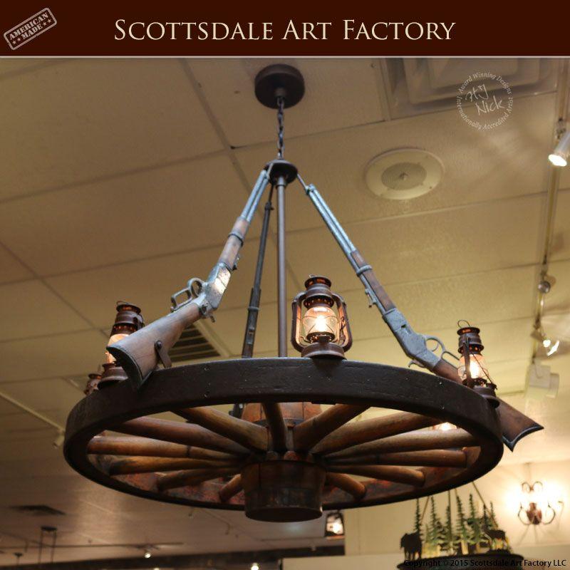Wagon wheel chandelier with rifle western theme lc720 rustic wagon wheel chandelier with rifle western theme lc720 rustic barnhome farmhouse pinterest wagon wheel chandelier wheel chandelier and wagon aloadofball Images