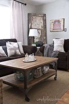 Brown Couches And Industrial Vintage Style Wall Color Owl Grey By Benjamin Moore Brown Living Room Decor Living Room Makeover Brown Sofa Living Room