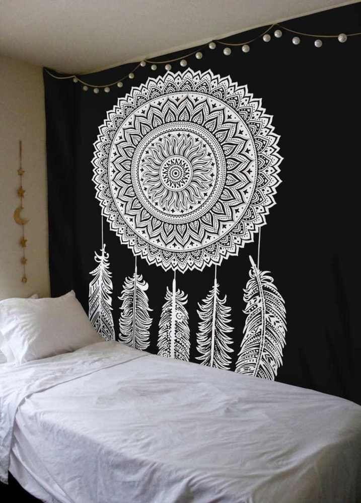 Dream Catcher Black And White Mandala Tapestry