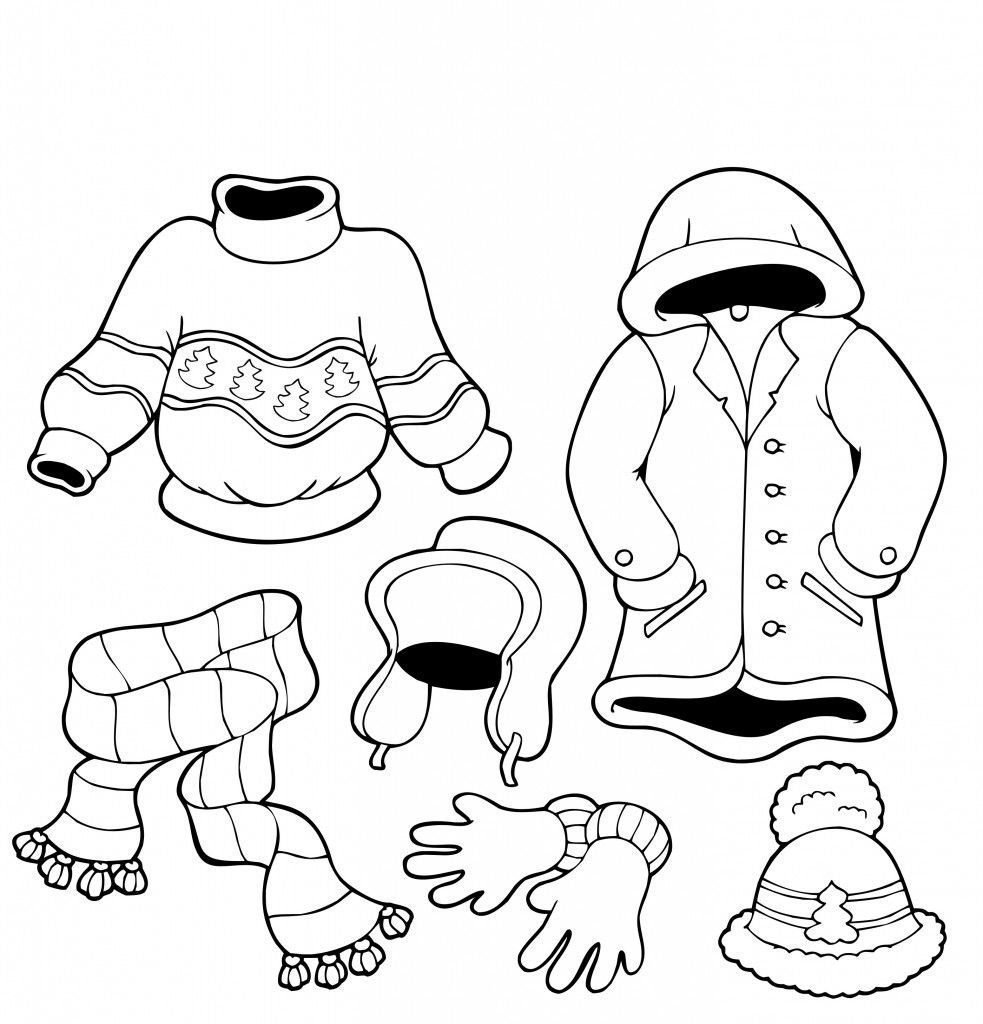 Fall Clothes Coloring Page
