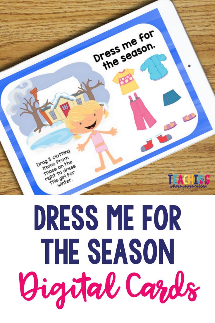 Dress For The Seasons Digital Cards Seasons Activities Seasons Kindergarten Science Activities For Kids [ 1102 x 735 Pixel ]