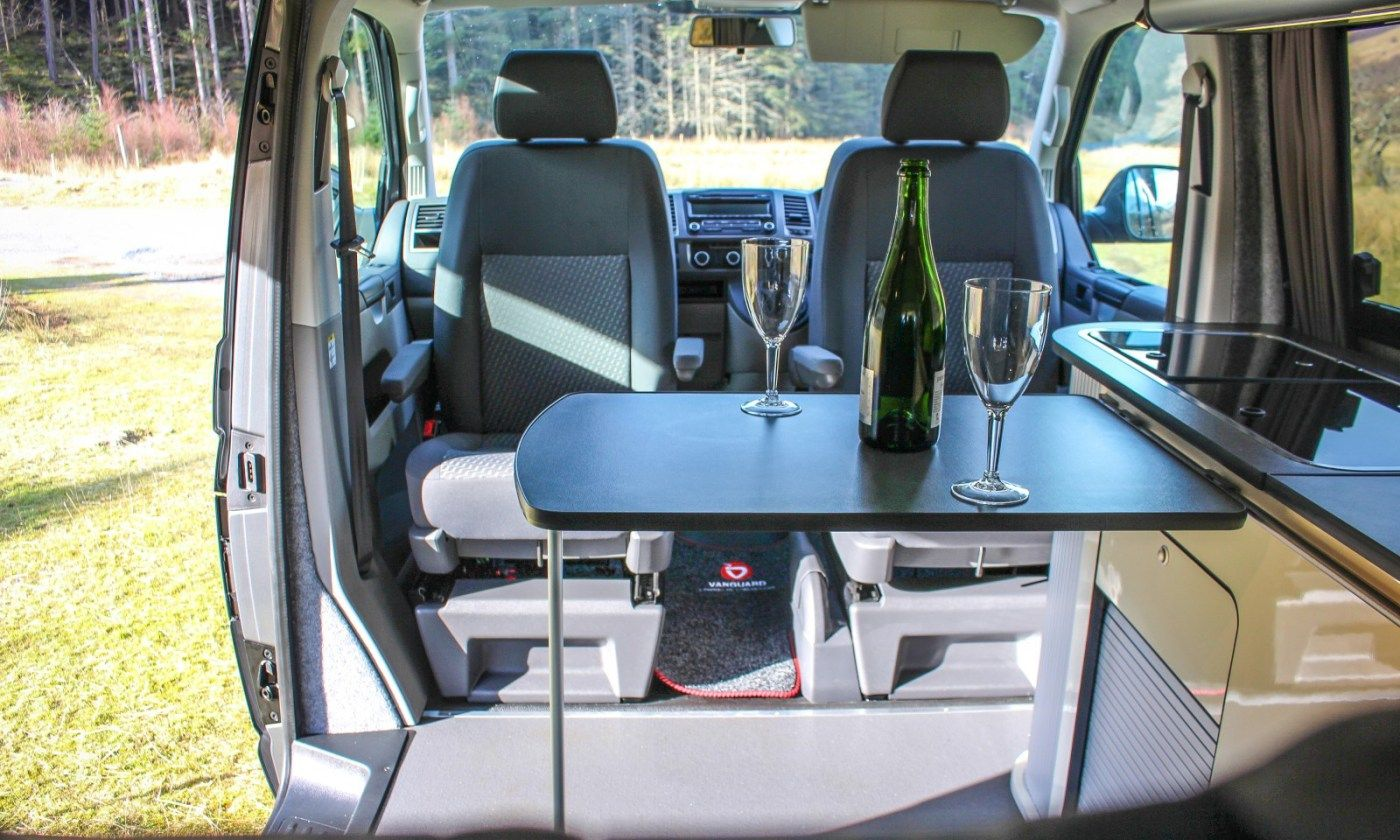 vw t5 campervan conversion fitted with swivel seats and sliding table ideas pinterest vw. Black Bedroom Furniture Sets. Home Design Ideas