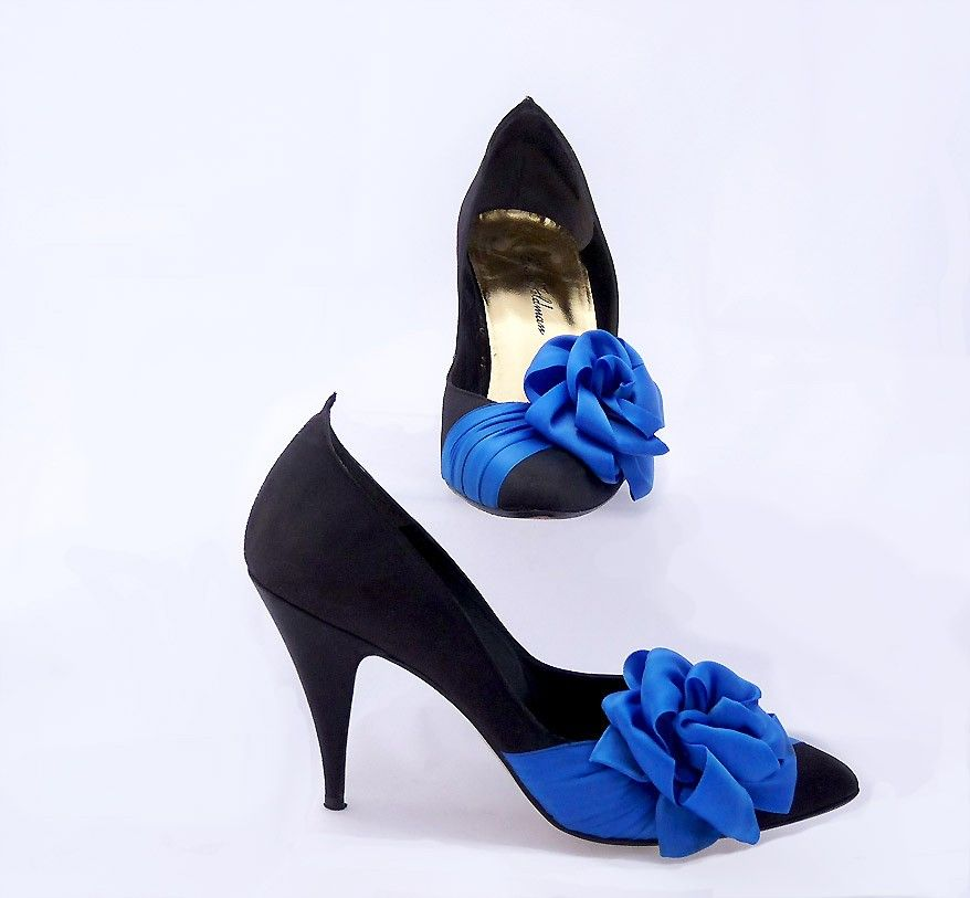 Beverly Feldman Black Lace Bow High Heels